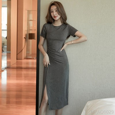 2020 new sexy slim waist solid color short sleeve skirt women