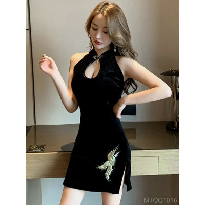2020 new sexy goddess improved cheongsam slim fit dress with hip slit