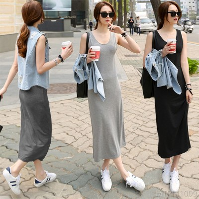 2020 new solid color long skirt plus size bottoming vest skirt