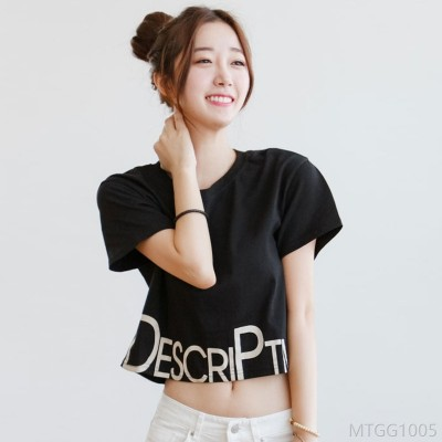 2020 new sexy cropped clothes female printed cotton round neck short sleeve t