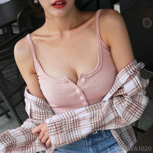 2020 new low-cut women's bottoming clothes blouse suspenders