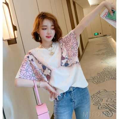 2020 new white T-shirt women's short-sleeved western-style heavy industry hot diamond printing top often