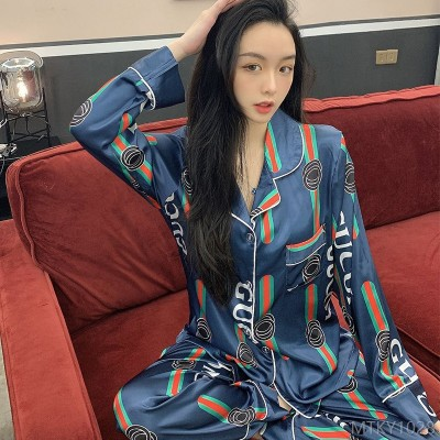 2020 new long-sleeved ladies thin simulation silk suit summer home
