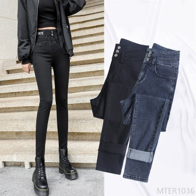 2020 new slim feet autumn and winter high stretch all-match tight cropped trousers