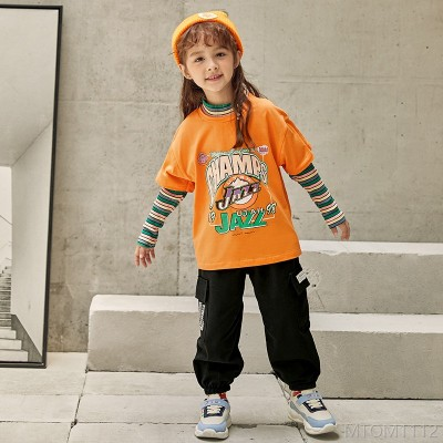 2020 new fake two-piece sweater girl autumn suit