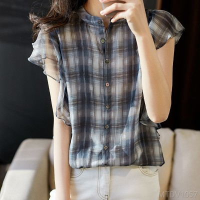 2020 New Contrast Checkered Silk Sleeve Drawstring Shirt Top