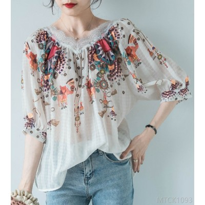 2020 new lace embroidery small shirt casual summer