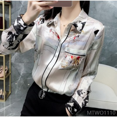 2020 new fashion printing foreign style mulberry silk satin top petals