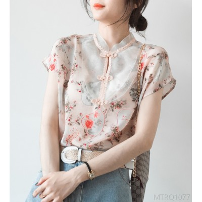 2020 new Chinese retro disc button stand collar short sleeve mulberry silk