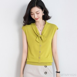 2020 New Fashion Bowknot Western Knitwear Women's All-match Top