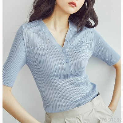 2020 new slim-fit Hong Kong-style knitted sweater with top t-shirt