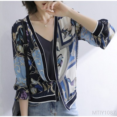 2020 new sun protection clothing thin coat mulberry silk cardigan tide ins top