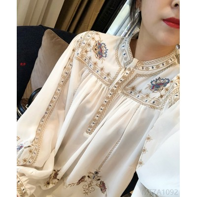 2020 new positioning double-sided embroidery atmospheric mulberry silk top shirt