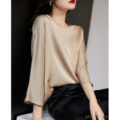 2020 new stretch satin double-sided mulberry silk top shirt cover