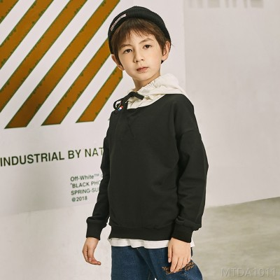 2020 new autumn boy fake two-piece hooded sweater