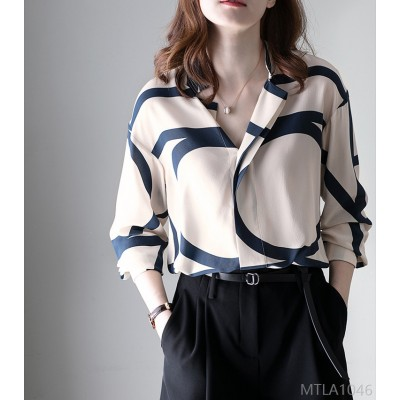 2020 new contrast color striped silk stand-up collar is thin and loose long sleeves