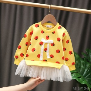 2020 new girls' sweaters and autumn clothes, children's t-shirts, female baby pullovers