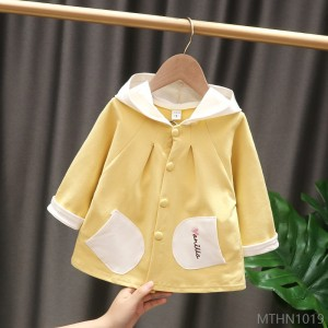 2020 new solid color hooded outerwear foreign style baby girl pure cotton embroidery