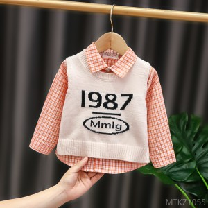 2020 new autumn children's clothing two-piece baby wool vest for men and women