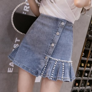 2020 new retro design sense bevel button pleated high waist bag hip skirt