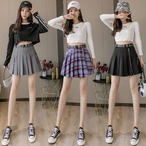 2020 new fall high waist pleated skirt college style bust