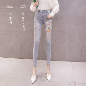 2020 new high-waist cropped trousers stretch embroidery slim pants