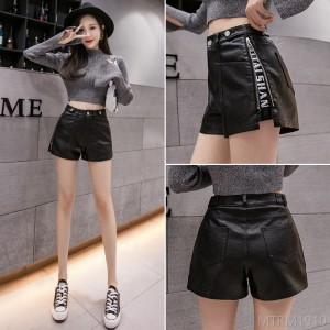 2020 new high waist PU leather shorts wide leg pants A-line hot pants