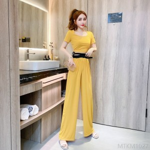 2020 new drawstring knitted T-shirt top casual loose straight wide leg pants suit