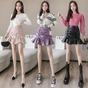 2020 new high waist A-line pleated skirt PU leather skirt
