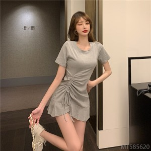 2020 new casual short-sleeved dress ruffled slim fit bag short hips