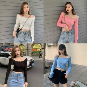 2020 new one-word shoulder top sweet clavicle sweater high waist short cropped long