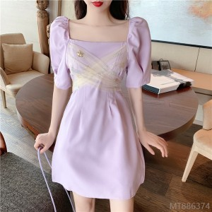 2020 new arrivals, real prices, French net yarn stitching, bow knots, waist slimming, puff sleeve fairy with