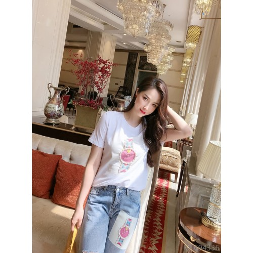 2020 new arrivals 6219# fashion hot style fashion heavy industry beaded pink fashion watch T-shirt jeans