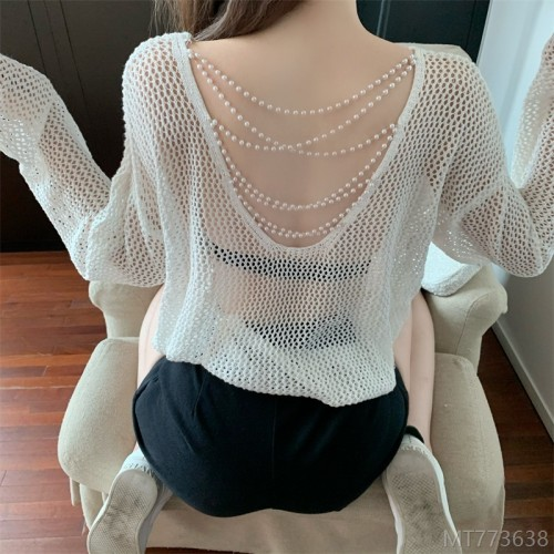 2020 new all-match real price pearl chain long-sleeved hollow out all-match sexy open back knitted sunscreen blouse top