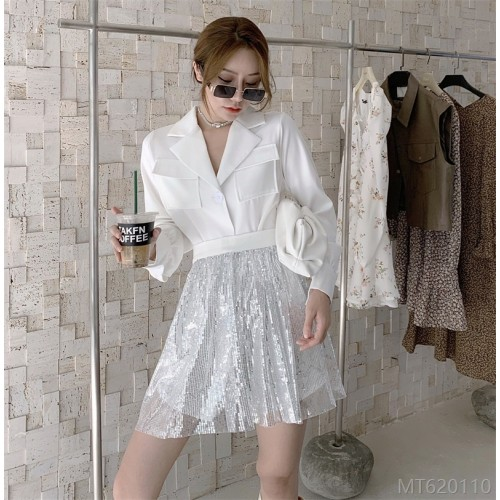 2020 new all-match real-price design shirt dress + waist bandage crystal sequin embroidery half skirt port