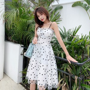 2020 new and new all-match spot~polka dot small sling dress holiday skirt one-piece commuter skirt A