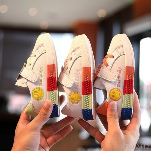 2020 new rainbow soft-soled baby toddler shoes 1-3 years old autumn fashion boys and girls smiling face non-slip kids break