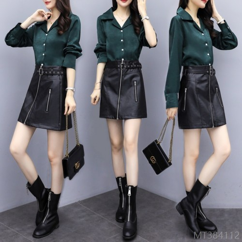 2020 new new year autumn fashion suit Korean version of fashion is thin temperament two-piece net red leather skirt