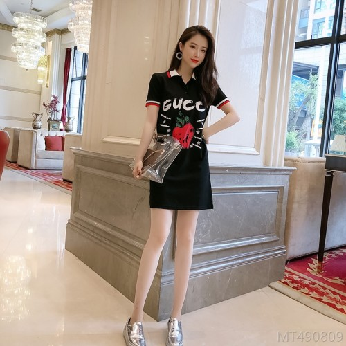 2020 new style 8005# the most explosive high-quality strawberry letters casual sports collar dress 20