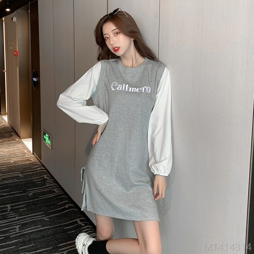 2020 new all-match fashion Korean embroidered letter sweater dress female mid-length control-65 cotton knit length