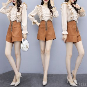 2020 new and new autumn long-sleeved chiffon shirt goddess fan fashion slim temperament shorts suit