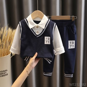 2020 new baby autumn clothes set lapel fake two-piece sweater