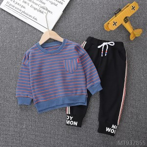 2020 new temperament autumn fashion foreign children's children's round neck stripes