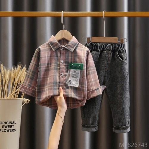 2020 new children's clothing boys baby children spring and autumn western style shirt pants
