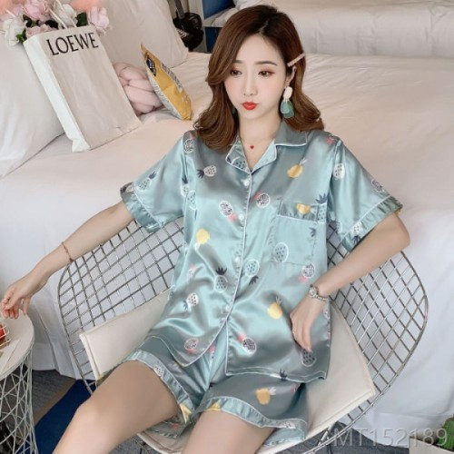 2020 new silk cardigan green pineapple suit sweet and fresh