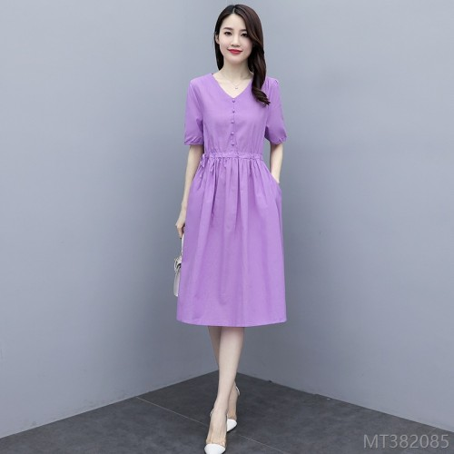 2020 new cotton and linen dress thin section