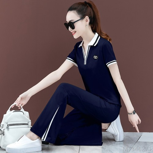 2020 new short-sleeved wide-leg pants two-piece suit