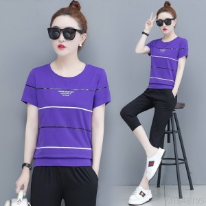 2020 new fashion fashion western casual loose short-sleeved cropped pants