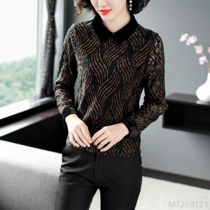 2020 new fashion print bottoming shirt slimming top