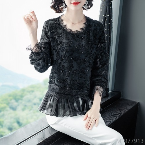 2020 new all-match new product autumn lace stitching top